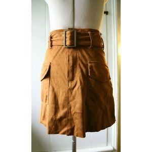 ZARA Trafaluc Brown Suede Skirt with Belt XXS